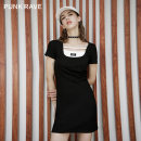 Dress Summer 2021 Black, gray Average size Short skirt singleton  Short sleeve street other middle-waisted Solid color One pace skirt routine Others 18-24 years old Type A PUNK RAVE GPQ-072LQ More than 95% other polyester fiber Europe and America