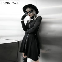 Dress Winter 2020 black XS,S,M,L,XL Short skirt Two piece set Long sleeves street stand collar High waist Solid color zipper A-line skirt routine Others 18-24 years old Type A PUNK RAVE Hollowing out PQ-937LQ 31% (inclusive) - 50% (inclusive) other nylon Punk