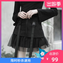 skirt Summer of 2019 XS,S,M,L black Short skirt street Natural waist A-line skirt Solid color Type A 18-24 years old PQ-608BQ More than 95% other PUNK RAVE cotton Strap, mesh, stitching Europe and America
