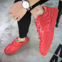 Low top shoes Black red white three hundred and ninety-four billion forty-one million four hundred and twenty-four thousand three hundred and forty-four Tang bin PU Frenulum Round head skate shoes cotton The trend of youth Sports & Leisure Solid color Flat heel spring and autumn rubber correct rivet
