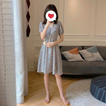 Dress Bafanya wathet M L XL XXL Korean version Long sleeves have more cash than can be accounted for summer Lapel Decor