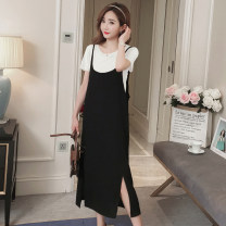 Dress Power season Khaki white M L XL XXL Korean version Short sleeve have more cash than can be accounted for summer Crew neck Solid color Cotton T + Polyester suspender skirt
