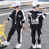 suit Star fun Black, red, blue 110cm,120cm,130cm,140cm,150cm,160cm male spring and autumn leisure time Long sleeve + pants 2 pieces routine There are models in the real shooting Zipper shirt No detachable cap other children Learning reward WZS19136-1 Class B Chinese Mainland Zhejiang Province