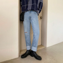 Jeans Youth fashion Mrcyc M. L, XL, 2XL, reference: model height 177 weight 120 try on L blue routine No bullet Regular denim trousers Other leisure autumn teenagers middle-waisted Fitting straight tube tide 2020 Straight foot zipper washing other washing polyester