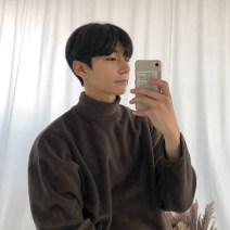 Sweater Youth fashion Mrcyc Brown, black M. L, XL, 2XL, warm tips: loose and comfortable Solid color Socket Plush stand collar autumn easy leisure time teenagers tide routine other cotton other