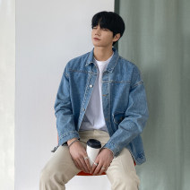 Jacket Mrcyc Youth fashion Blue, dark blue M. L, XL, 2XL, reference: model height 177 weight 124 try on L routine easy Travel? spring Long sleeves Wear out Lapel tide teenagers routine Single breasted 2021 Cloth hem other Closing sleeve Solid color Denim other Cover patch bag other