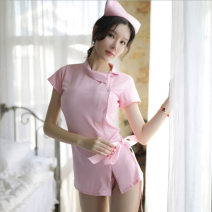 Dress Summer of 2019 Pink miniskirt, black miniskirt One size fits all, with black mesh pantyhose, with meat open pantyhose, with black open pantyhose Other / other