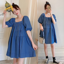 Dress Ti Lixuan Picture color M L XL XXL leisure time Short sleeve Medium length summer square neck Solid color polyester fiber wmdO24428
