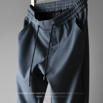 Casual pants Others Fashion City Black, dark grey, black straight, dark grey straight M,L,XL,2XL,3XL,4XL,5XL routine trousers motion Self cultivation Micro bomb ZAC00677 spring youth tide 2021 Medium low back Sports pants pocket No iron treatment Solid color