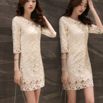 Dress Spring of 2019 Picture color (light beige) S M L XL XXL Middle-skirt singleton  three quarter sleeve commute Crew neck middle-waisted Solid color zipper One pace skirt routine Others 25-29 years old Type X Kayichi lady Zipper lace 71% (inclusive) - 80% (inclusive) Lace cotton