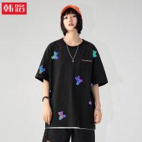 T-shirt Black, white XL,2XL,L,M Spring 2021 Short sleeve Crew neck easy Regular routine street cotton 51% (inclusive) - 70% (inclusive) 18-24 years old originality Han Lu printing