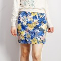 skirt Spring 2020 S,M,L,XL,2XL blue Short skirt Versatile Natural waist skirt Decor Type H 30-34 years old More than 95% brocade Gold silk brocade cotton printing
