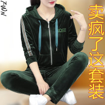 Women's large Spring 2021 Dark green dark blue pink black M L XL 2XL 3XL 4XL Other oversize styles Two piece set easy Cardigan Long sleeves Solid color Hood routine polyester fiber routine FWN1932 Fenweina pocket Polyester 95% polyurethane elastic fiber (spandex) 5% Pure e-commerce (online only)