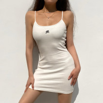 Dress Spring 2021 White, black S,M,L Short skirt singleton  Sleeveless street High waist letter Socket One pace skirt routine camisole 18-24 years old Type H TUD1036W0C 31% (inclusive) - 50% (inclusive) polyester fiber Europe and America
