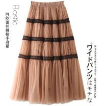 skirt Winter 2020 S,M,L Black, white, khaki, smoke blue longuette commute High waist Pleated skirt Solid color Type A Lace Da Yi Chuang Gauze Korean version