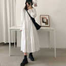 Dress Spring 2020 White [upgraded cotton fabric has sag], black [upgraded cotton fabric has sag], white [with sag], black [with sag] S. M, l, XL, 2XL, [white with lining], [collection and purchase, delivery on the same day], [the quantity is enough, the quality is worth 100 yuan] longuette singleton