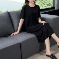 Women's large Summer 2020 black XL recommended weight: [120-150 kg], XXL recommended weight: [150-175 kg], XXL recommended weight: [175-200 kg], XXXXL recommended weight: [200-230 kg] Two piece set commute easy thin Short sleeve Simplicity Crew neck routine Collage other z0992052020 Stone fish pocket
