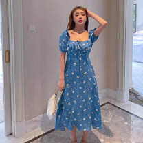 Dress Summer 2021 Blue print, yellow print XXS,XS,S,M Mid length dress singleton  Short sleeve commute square neck middle-waisted Broken flowers Socket Princess Dress puff sleeve straps 25-29 years old Type H CSS210323 51% (inclusive) - 70% (inclusive) Chiffon cotton