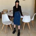 skirt Autumn 2020 XXS,XS,S,M,L blue Mid length dress High waist Denim skirt Solid color Type H Denim