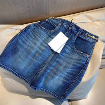 skirt Summer 2021 S,M,L blue Middle-skirt commute Natural waist A-line skirt Solid color Type A Q-501 31% (inclusive) - 50% (inclusive) Denim Other / other cotton Three dimensional decoration, pocket, zipper Simplicity