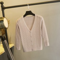 Wool knitwear Summer of 2019 S,M,L Black, white, apricot, grayish blue, pink three quarter sleeve singleton  Cardigan Viscose 91% (including) - 95% (excluding) have cash less than that is registered in the accounts Thin money Sweet Self cultivation V-neck routine Abstract pattern Single breasted Mori
