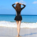one piece  M L XL 2XL 3XL Skirt one piece With chest pad without steel support Nylon spandex polyester Summer of 2019 yes female Long sleeves Casual swimsuit Lotus leaf edge