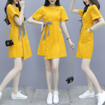 Dress Summer 2021 yellow S,M,L,XL,2XL Short skirt singleton  Short sleeve commute Crew neck Elastic waist Solid color Socket A-line skirt routine Others 18-24 years old Type A Korean version 81% (inclusive) - 90% (inclusive) cotton