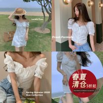 Dress Summer 2020 Top - white, dress - white S,M,L Short skirt singleton  Short sleeve commute stand collar Loose waist Solid color Socket A-line skirt puff sleeve Others 18-24 years old Type A Other / other Korean version SU20050400 More than 95% cotton