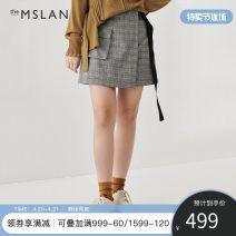 skirt Spring 2021 S M L XL Black Short skirt commute High waist A-line skirt lattice 25-29 years old 81% (inclusive) - 90% (inclusive) Wool theMSLAN polyester fiber zipper