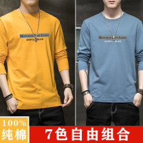 T-shirt Youth fashion thin M. L, XL, 2XL, 3XL, 4XL [170-190 Jin] Others Long sleeves Crew neck Self cultivation Other leisure spring Cotton 100% teenagers routine tide 2020 Geometric pattern printing cotton No iron treatment More than 95%
