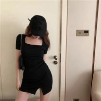 Women's large Summer 2020 black M [80-100 Jin], l [100-120 Jin], XL [120-135 Jin], XXL [135-150 Jin], 3XL [150-165 Jin], 4XL [165-180 Jin] singleton  commute Short sleeve lady square neck 18-24 years old Short skirt