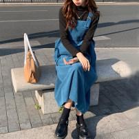 Dress Spring 2021 Lake blue, rust red XL [100-120 Jin], 2XL [120-140 Jin], 3XL [140-160 Jin], 4XL [160-180 Jin] longuette singleton  Sleeveless commute One word collar Loose waist Solid color Socket A-line skirt straps Type A pocket 81% (inclusive) - 90% (inclusive) cotton
