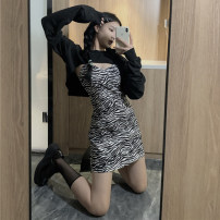 Women's large Autumn 2020 Black sweater, zebra suspender skirt L [100-120 Jin], XL [120-135 Jin], 2XL [135-150 Jin], 3XL [150-165 Jin], 4XL [165-180 Jin] Sweater / sweater Two piece set Zebra pattern Polyester, cotton