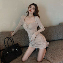 Women's large Autumn 2020 Black, apricot L [100-120 Jin], XL [120-135 Jin], 2XL [135-150 Jin], 3XL [150-165 Jin], 4XL [165-180 Jin] singleton  commute Long sleeves Solid color Korean version V-neck routine 18-24 years old Short skirt