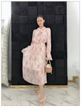 Dress Spring 2021 Pink Average size Mid length dress Two piece set Long sleeves commute stand collar Elastic waist Decor Socket Ruffle Skirt 18-24 years old Type A More than 95% Chiffon cotton