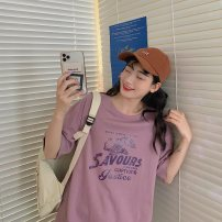 T-shirt Purple white M L XL XXL Summer 2020 Short sleeve Crew neck easy Regular routine commute cotton 96% and above 18-24 years old Korean version classic Letters for plants and flowers Butterfly fantasy 2020DHY005 printing Cotton 100% Pure e-commerce (online only)