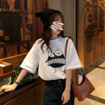 T-shirt White grey M L XL XXL Spring 2020 Short sleeve Crew neck easy Regular routine commute polyester fiber 86% (inclusive) -95% (inclusive) 18-24 years old Korean version youth Cartoon animation Butterfly fantasy 2020DHY338 printing Polyester 95% polyurethane elastic fiber (spandex) 5%