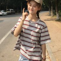 T-shirt Red Grey Stripe yellow blue stripe M L XL XXL Summer of 2019 Short sleeve Crew neck easy Regular routine commute polyester fiber 86% (inclusive) -95% (inclusive) 18-24 years old Korean version classic letter Butterfly fantasy 2019DHY670 Print stitching Pure e-commerce (online only)