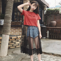 Dress Autumn of 2018 Rust red white black M L XL XXL Mid length dress Fake two pieces Short sleeve commute Crew neck Loose waist letter Socket A-line skirt routine Others 18-24 years old Type A Butterfly fantasy Korean version Patchwork lace DHY643 More than 95% polyester fiber