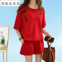 Women's large Spring 2021, summer 2021 Red [top + pants], gray [top + pants], pink [top + pants], red [single top] M [recommended 85-100 kg], l [recommended 100-120 kg], XL [recommended 120-140 kg], 2XL [recommended 140-160 kg], 3XL [recommended 160-180 kg], 4XL [recommended 180-210 kg] Two piece set