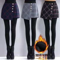 Leggings Autumn 2020 Black and white plaid stitching, blue stitching, fake two pieces (black pants), fake two pieces (gray pants), fake two pieces (Caramel pants), 02 button, 02 suspenders, 02 black and white fishtail skirt, 02 blue four deduction, 02 gray four deduction, 02 black four deduction