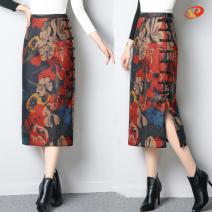skirt Winter 2020 S,M,L,XL,2XL,3XL Decor 1, decor 2, decor 3, decor 4, decor 5, decor 6, decor 7 Mid length dress Retro High waist skirt Decor Type H 25-29 years old Wool Other / other Button, print