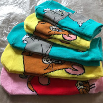 Cartoon T-shirt / Shoes / clothing goods in stock Over 3 years old Socks Tom and Jerry female Sweet Unlimited seasons, spring cotton Adult blue, child blue, adult yellow, child yellow, adult Pink