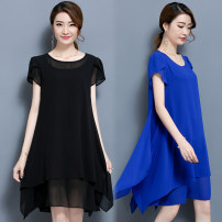 Dress Summer 2020 Black, blue L,XL,2XL,3XL,4XL,5XL longuette singleton  Short sleeve commute Crew neck High waist Solid color Irregular skirt routine Others Type A Other / other Korean version Ruffles, stitching, asymmetry 2017-349 81% (inclusive) - 90% (inclusive) Chiffon