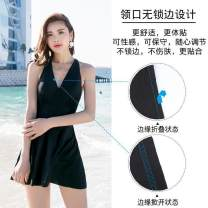 one piece  other Skirt one piece Steel strap breast pad Spandex, polyester, others female Sleeveless Casual swimsuit