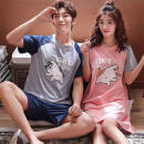 Pajamas / housewear set lovers Hodo / red bean Men's L size 95-120 Jin, men's XL SIZE 120-145 Jin, men's XXL size 145-170 Jin, women's M size 80-100 Jin, women's L size 100-120 Jin, women's XL SIZE 120-145 Jin cotton Short sleeve Cartoon pajamas summer Thin money Crew neck Cartoon animation shorts