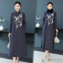 Dress Winter 2020 Apricot, Navy M,L,XL,2XL,3XL longuette singleton  Long sleeves commute stand collar High waist Solid color Socket routine 35-39 years old Type H Retro Embroidery, buttons wool