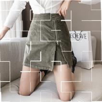skirt Autumn 2020 S,M,L,XL Short skirt Versatile High waist A-line skirt Solid color 25-29 years old Other / other zipper