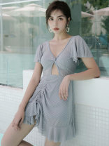 one piece  DUDU&MUMU Female m (recommended 80-100kg) female L (recommended 100-112kg) female XL (recommended 112-125kg) Grey - strip holder Skirt one piece No chest pad Spandex polyester others HMN2112 Winter 2020 female Short sleeve Casual swimsuit