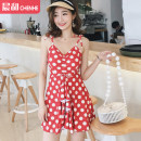 one piece  DUDU&MUMU M (recommended 80-100kg) l (recommended 100-112kg) XL (recommended 112-125kg) Red and white Skirt one piece With chest pad without steel support Spandex polyester others Autumn of 2019 female Short sleeve Casual swimsuit